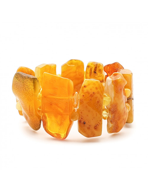 Large Amber Beads with Turquoise. Amber cognac volumetric beads