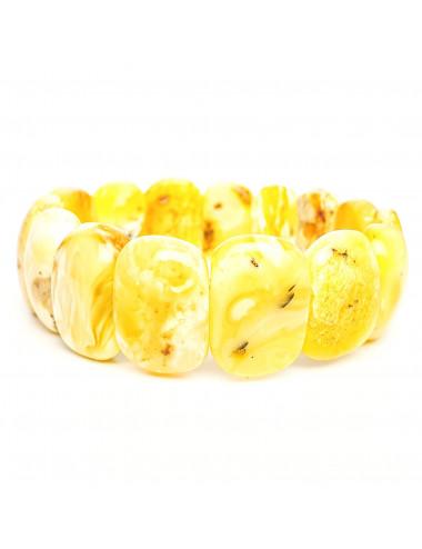 Многоярусный браслет из янтаря. Браслет из натурального камня. Стильный яркий янтарный браслет.